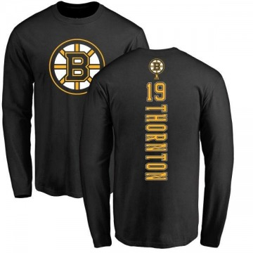 Men's Joe Thornton Boston Bruins Backer Long Sleeve T-Shirt - Black