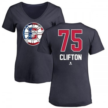 Women's Connor Clifton Boston Bruins Name and Number Banner Wave V-Neck T-Shirt - Navy