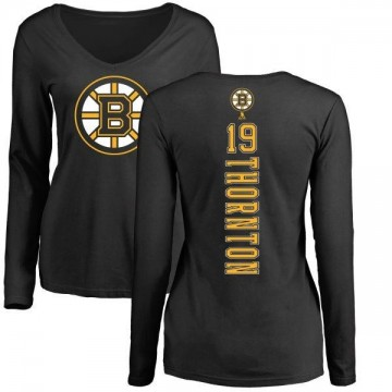 Women's Joe Thornton Boston Bruins Backer Long Sleeve T-Shirt - Black